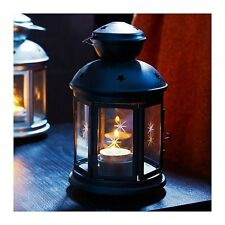 21cm Black noir metal tealight candle hanging night outdoor lantern glass window