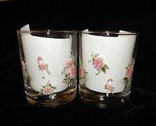 2 PINK RIBBON & ROSES BREAST CANCER AWARENESS ON THE ROCKS GLASSES BARWARE