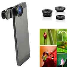 Unique 3in1 Fish Eye + Wide Angle Micro Len Camera Kit For iPhone Samsung HTC