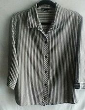 Jahhan Button Down Striped Shirt Gray White Gold Blouse 3/4 Sleeve Top Size Med