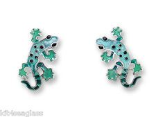 Zarah Zarlite Gecko Post EARRINGS Silver Plated Enamel Stud - Gift Wrapped Box
