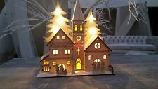 SHABBY CHIC LIGHT UP WOODEN CHURCH NATIVITY CHRISTMAS DECORATION VILLAGE SCENE
