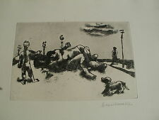 Hans Sperschneider am strand radierung   handsigniert  hamburg
