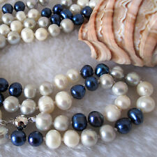 "52"" 6-8mm Multi Color Freshwater Pearl Necklace White Gray Navy Fashion Jewelry"