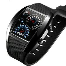 New Men Sports RPM Turbo Flash LED Car Speed Meter Dial Gift Wrist Watch Watches