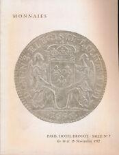 HN MONNAIES BOURGEY Paris Salle n° 7 Novembre 1972 Monete antiche e francesi