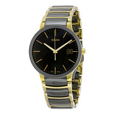 Rado Centrix Black Dial Gold PVD Black CEramic Mens Watch R30929152