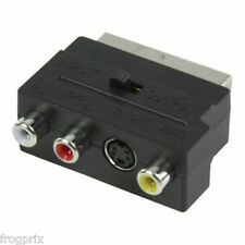 ADAPTATEUR PERITEL MALE VERS 3 RCA ET S VIDEO S VHS IN OUT REVERSIBLE