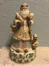 MUSICAL VICTORIAN SANTA CLAUS FIGURINE Plays WHITE CHRISTMAS Porcelain Large