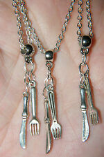 "2 Pieces! KNIFE & FORK Mini Charm UTENSIL Necklaces Culinary Chef 22"" Lot of 2"