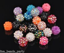 20pcs 12mm Round Arcylic Rhinestone Crystal Loose Beads Crafts Finding Mix Color