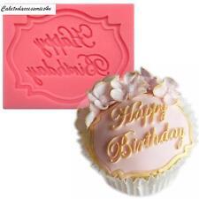Feliz Cumpleaños Molde De Silicona Decoración De Tartas Fondant Pasta De Azúcar