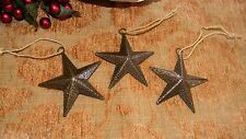 "3"" Gold Metal Star Ornaments (Set of Three)  Country  Christmas Decor"