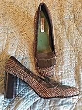 Tommy Girl Hilfiger Brown Tan Tweed Heels Pumps Sz 7 1/2 M