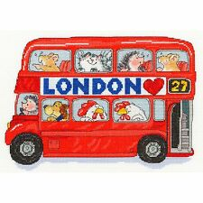 Bothy threads london bus avec hérisson souris passagers Cross Stitch Kit-NOUVEAU