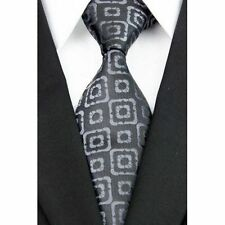 Black Hand Woven 100% Pure Silk Neck Tie with Grey Double Square  Pattern