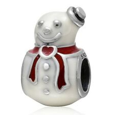 925 Solid Sterling Silver SNOWMAN Charm Bead.