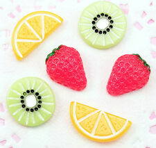 6 x Mixed Summer FRUIT Salad Flat Back Resin Cabochons Craft Kawaii Decoden
