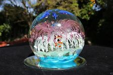 Glow in The Dark Hand Blown Glass Globe Coral flower Seascape Paperweight Large