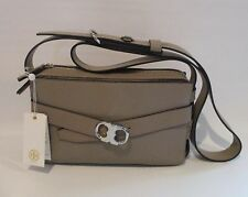 TORY BURCH Small Gemini French Gray Leather Belted Camera Bag Crossbody    NEW