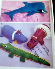 GREAT VTG STUFFED ANIMAL DOLPHIN HIPPO DOLL SEWING PATTERN UNCUT