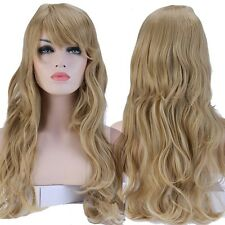 UK S-noilite Long Synthetic Hair Full Wig Curly Party Daily Dress Ash Blonde Wig