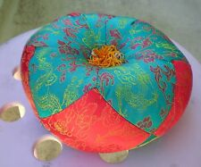 "Round Silk Tibetan Singing Bowl Cushion for Dharma 7"" Turquoise and Red"