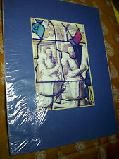 "MEDIEVAL STAINED GLASS WINDOW  PRINT IN CARDBOARD MOUNT 11"" x 9 "" Mary Jesus"