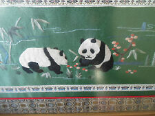 Delightful Embroidery With 2 Pandas ~ Framed Behind Glass Wall Hanging