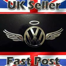 3D Dome Angel Wings Halo Car Sticker Decal Badge Silver Chrome VW Polo UP Fox
