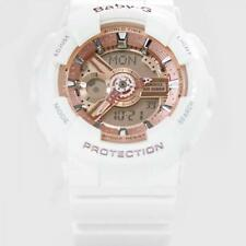 Brand New Casio Baby-G Shock BA110-7A1 Womens White Rose Gold Ana-Digital Watch