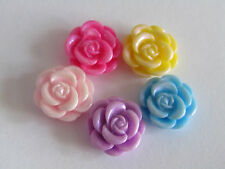 13mm Rose Flower Resin Flat Back Cabochons Mixed Colours Jewellery Making 25pcs