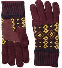 Isotoner Women's Nordic Birdseye Fair Isle Glove with Suede Palm Pad, One Size