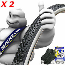 "KIT N°2 Copertone + N°2 Camere 28"" - 700 x 35 C B / N - MICHELIN Bici CITY BIKE"