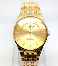 078P OMAX Men's Boys Slim Dress Wrist Watch Classic New Gold Strap Dial Quartz