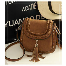 Women's LadiesTassel Fringe Faux Suede Shoulder Messenger Crossbody Bag Handbag
