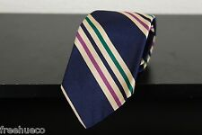 ROBERT TALBOTT Regimental Dark Blue Beige Multi Striped Silk Necktie Tie