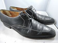 A.TESTONI Black Leather Split-Toe Oxford  10.5 m