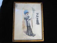 Antique Engraving-EDWARDIAN FASHION-COSTUME-HAT-GLOVE-DRESS-Ateliers Finkelstein