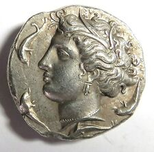 Vintage Greek Coin Silver Tone DECADRACHM SICILY ARETHUSA W/ DOLPHIN CHARIOT