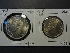 GREAT BRITAIN 1945 KGVI SILVER 2 SHILLING + HALF CROWN COMBO 1, BOTH GEM UNC+++