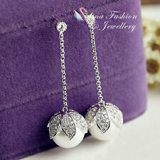 18K White Gold Plated CZ Gorgeous Flower Pearl Drop Dangling Earrings