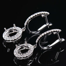 Natural Diamond Wedding Earrings Semi Mount Fit Oval 7×5mm in 18K White Gold