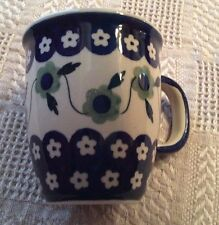 Janelle Imports Signature Bistro Cup Mug HandMade in Poland Blue/Green Flowers