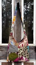 Quilted Multi Patchwork HIPPIE COTTON CROSS BODY SLING Zip Shoulder Bag BOHO Lg