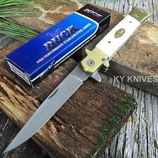 "9"" Duck Tactical German Style Stiletto Spring Assisted Open Pocket Knife 0029-WH"