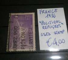 "FRANCE 1936 ""POLITICAL REFUGEES"" USED STAMP (CAT.A)"