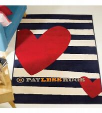 120cm x 160cmretro funky heart striped red cream blue childrens hard wearing rug