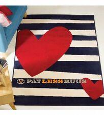 120cm x 160cmretro funky heart striped red cream blue childrens hard wearing rug