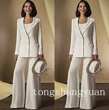 Fashion 3 Pieces Pants Suit Mother of the Bride Dress Formal Chiffon Gown Custom